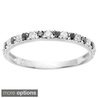 10k Gold 1/4ct TDW Black and White Stackable Diamond Band