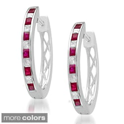 Montebello 14k Gold Ruby or Sapphire and 3/4ct TDW Diamond Hoop Earrings (H-I, SI2)