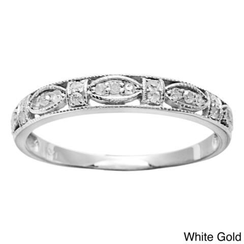 10k Gold 1/5ct TDW Diamond Pave Vintage-style Ring