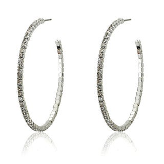 Riccova Plated Crystal Semi-hoop Earrings