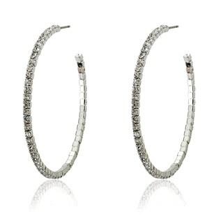 Riccova Plated Crystal Semi-hoop Earrings