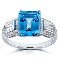 Annello by Kobelli 14k White Gold 4 1/2ct TGW Emerald-cut Blue Topaz and Bullet-cut Diamond Art Deco Ring