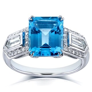 Annello by Kobelli 14k White Gold 4 1/2ct TGW Emerald-cut Blue Topaz and Bullet-cut Diamond Art Deco Ring