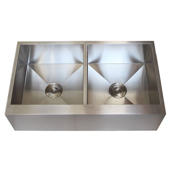 Stainless Steel Double Farmhouse Sink : Stainless Steel Farmhouse Double Bowl Flat Apron Kitchen Sink - Free ...