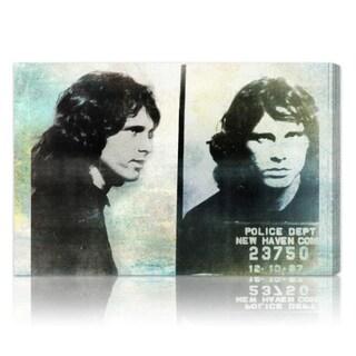 The Oliver Gal Artist Co. 'Jim Morrison Mugshot' Fine Art Canvas - Teal