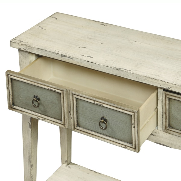 Hand Painted Distressed Antique White Finish Accent Console Table   Free  Shipping Today   Overstock.com   15442130