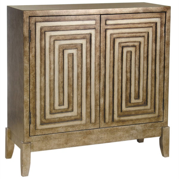 Hand Painted Distressed Antique Bronze Finish Accent Chest