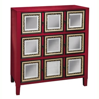 Hand Painted Distressed And Mirrored Red Finish Accent Chest