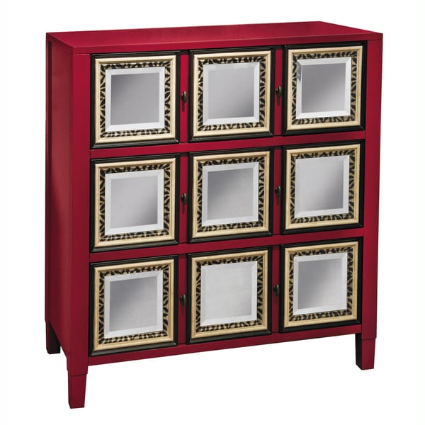 Hand-painted Distressed and Mirrored Red Finish Accent Chest