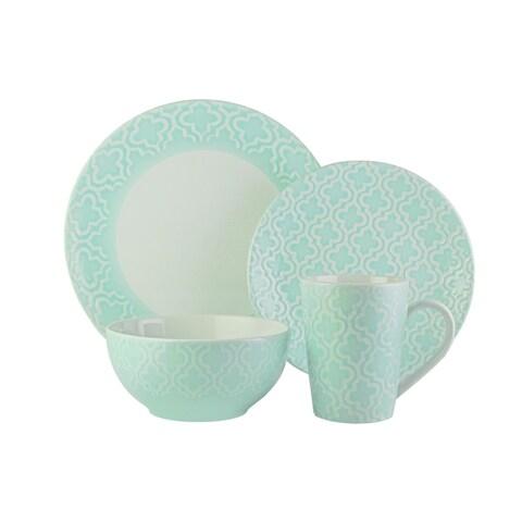 American Atelier Quatre Teal 16-piece Dinnerware Set