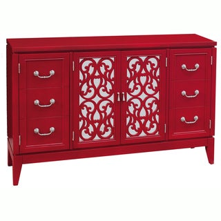 Mirrored Hand Painted Distressed Red Finish Console Chest