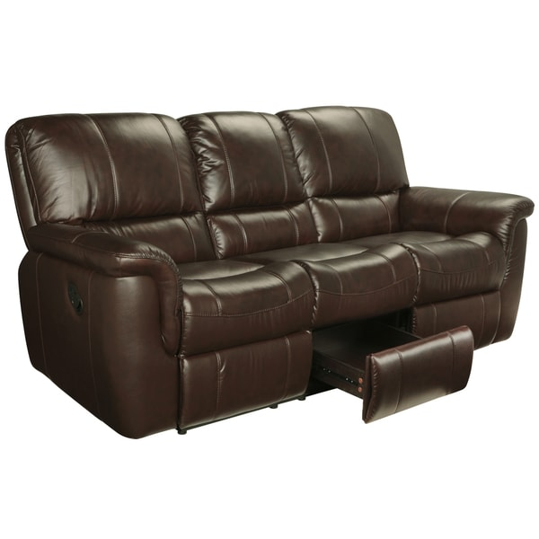 Ethan Chestnut Brown Leather Reclining Sofa Loveseat and Recliner - Free Shipping Today - Overstock.com - 15442175  sc 1 st  Overstock.com & Ethan Chestnut Brown Leather Reclining Sofa Loveseat and Recliner ... islam-shia.org