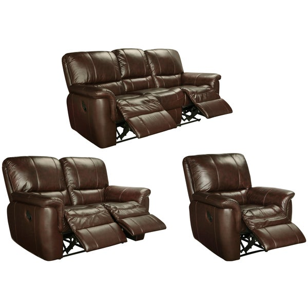 Shop Ethan Chestnut Brown Leather Reclining Sofa Loveseat