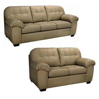Sophia Taupe Italian Leather Sofa and Loveseat