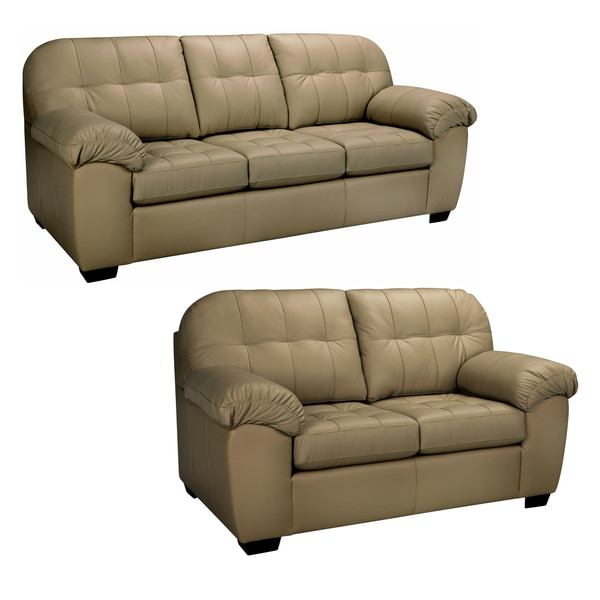 Shop Sophia Taupe Italian Leather Sofa And Loveseat Free Shipping