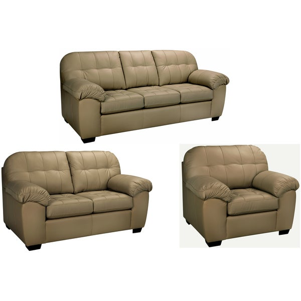 Shop Sophia Taupe Italian Leather Sofa Loveseat And Chair Free