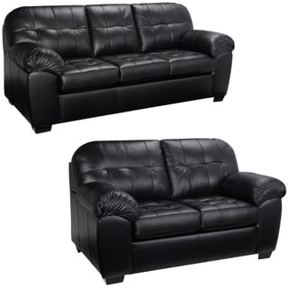 Emma Black Italian Leather Sofa and Loveseat