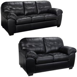 Emma Black Italian Leather Sofa and Loveseat - 38 x 88.5 x 37.5