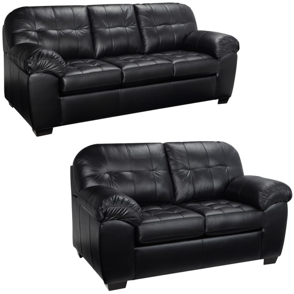 Shop Emma Black Italian Leather Sofa And Loveseat 38 X