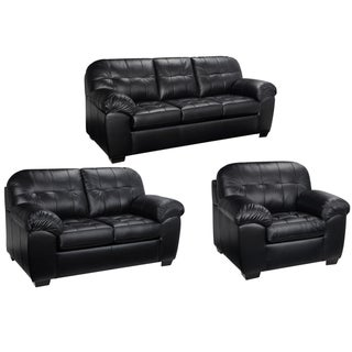 emma black italian leather sofa loveseat and chair - Black Leather Loveseat