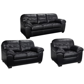 Emma Black Italian Leather Sofa, Loveseat And Chair