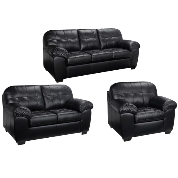 Shop Emma Black Italian Leather Sofa, Loveseat and Chair ...