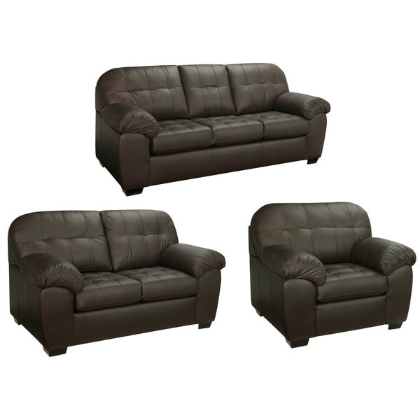Isabella Chocolate Brown Italian Leather Sofa Loveseat And Chair Free Shipping Today