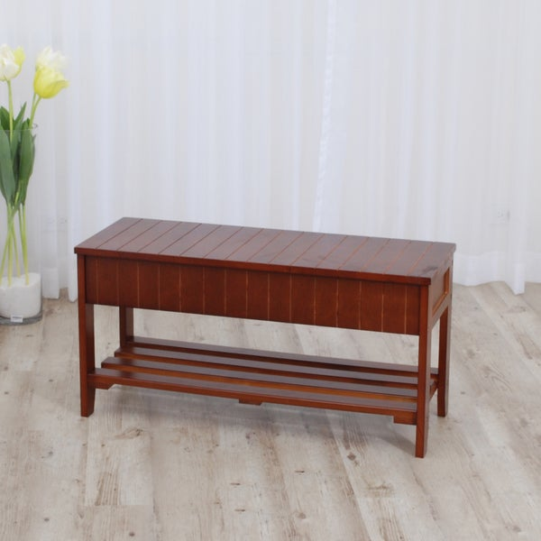 Walnut Finish Solid Wood Storage Shoe Bench Shelf Free Shipping Today 15442210
