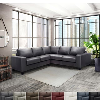 Paulina Grey Italian Leather Sectional Sofa