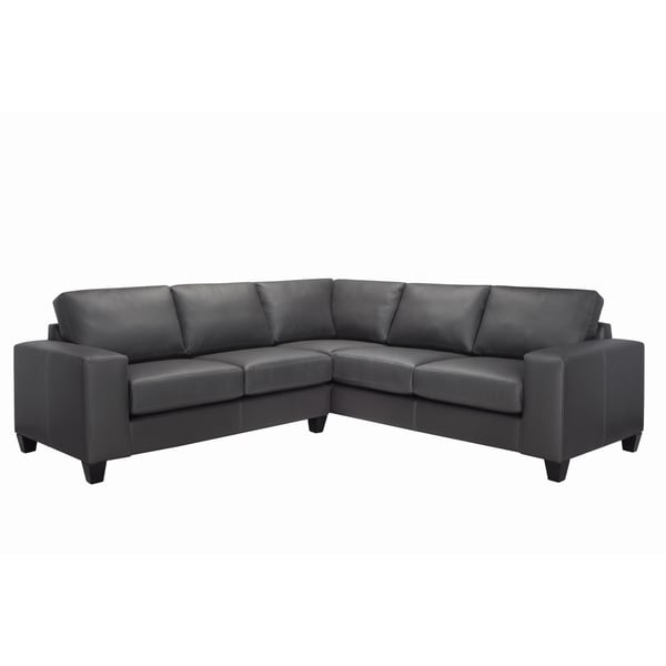 Paulina Grey Italian Leather Sectional Sofa Free Shipping Today - Gray leather sectional sofas