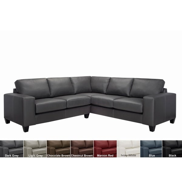 Shop Paulina Top Grain Italian Leather Sectional Sofa - Free ...
