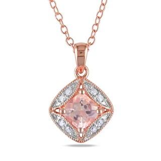 Miadora Rose Plated Silver Morganite and Diamond Necklace
