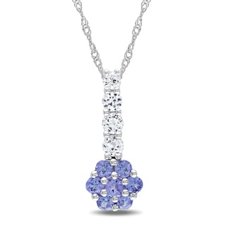 Miadora 10k White Gold White Sapphire and Tanzanite Flower Necklace