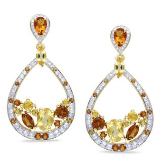 Miadora 14k Gold Citrine, White Sapphire 1/8ct Diamond Earrings (SI1-SI2)