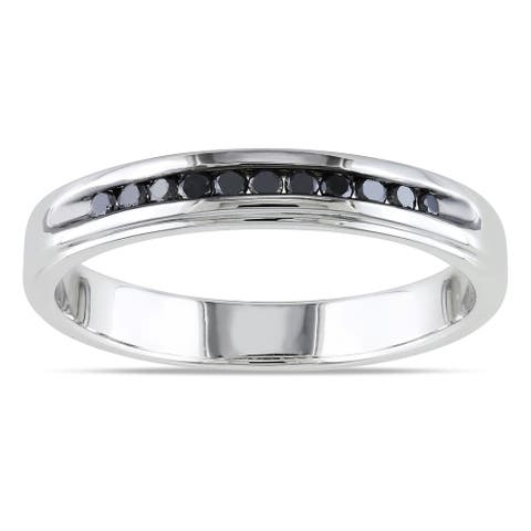 Miadora Sterling Silver 1/4ct TDW Men's Channel-set Black Diamond Wedding Band