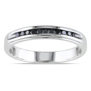 Miadora Sterling Silver 1 4ct TDW Men S Channel Set Black Diamond Wedding Band