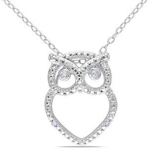 Miadora Sterling Silver Diamond Owl Necklace