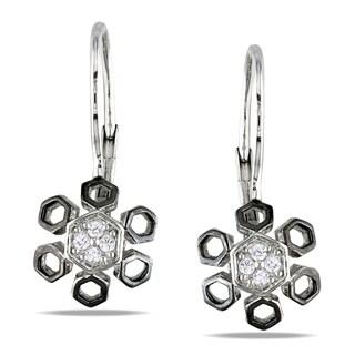 Miadora Sterling Silver 1/10ct TDW Diamond Flower Earrings