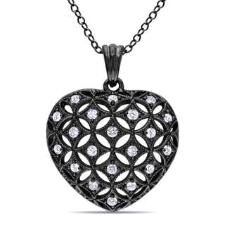 Black Silver 1/2ct TDW Diamond Heart Necklace