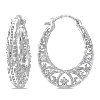 Miadora Sterling Silver 1/10ct TDW Diamond Hoop Earrings