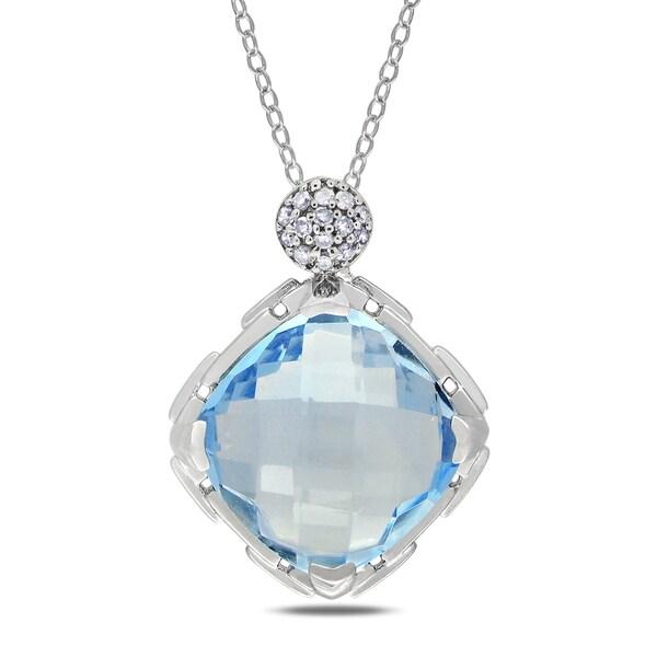 Miadora Sterling Silver 8ct TGW Blue Topaz and Diamond Necklace