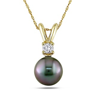 Miadora 14k Yellow Gold Tahitian Pearl and Diamond Necklace (9-10 mm)