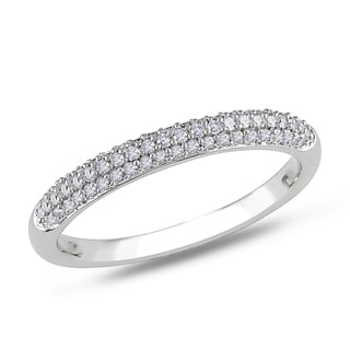 Miadora 14k White Gold 1/4ct TDW Pave Diamond Anniversary Band (G-H, I1-I2)