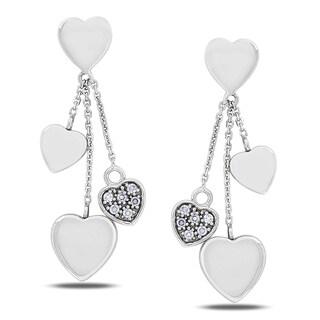 Miadora 14k White Gold 1/8ct TDW Diamond Star Earrings