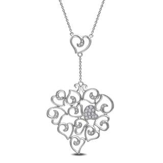 Miadora 14k White Gold 1/4ct TDW Diamond Heart Necklace