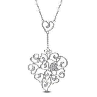 Link to Miadora 14k White Gold 1/4ct TDW Diamond Heart Necklace Similar Items in Necklaces