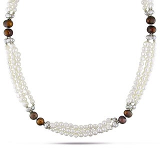 Miadora Goldtone Cultured Freshwater Pearl Necklace with Metal Beads