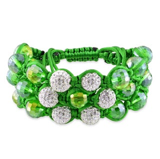 Miadora Green Macrame Silk Cubic Zirconia and Bead Bracelet
