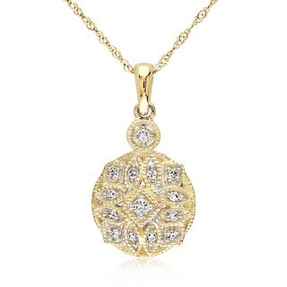 Miadora 14k Yellow Gold 1/8ct TDW Diamond Necklace