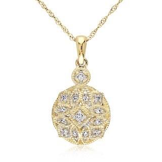 Miadora 14k Yellow Gold 1/8ct TDW Diamond Necklace
